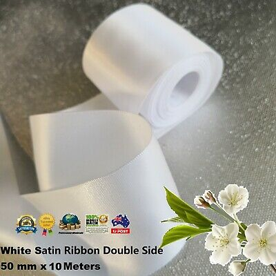 White SATIN CAR RIBBON 50mm x 10Meters WEDDING DOUBLE FACED High Quality