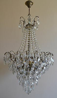 Antique Beautiful French Spider Style Brass & Crystals Huge Chandelier Lamp