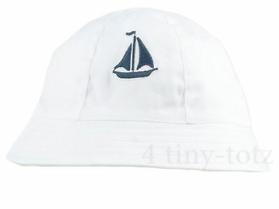 Baby Boys White Cotton Bucket Hat With Embroidered Navy Yacht 0-3/3-6 months