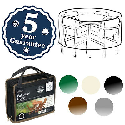 Gardman Deluxe 2-4 Seat Round Patio Set Cover Waterproof Furniture Seat 5 Colour