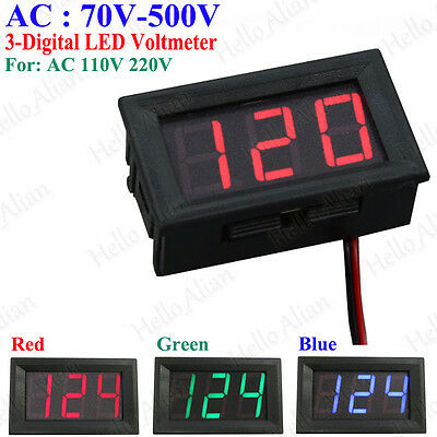 Mini AC 70-500V 3-Digital LED Voltmeter Panel Display Voltage Meter w/ 2 Wires