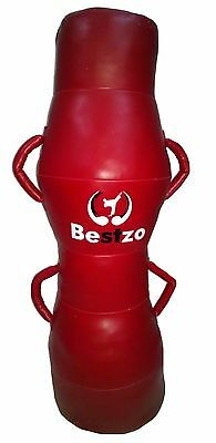 MMA Punching Bag - Cylinder Shape Pound /Floor Striking -Red-Synthetic Leather