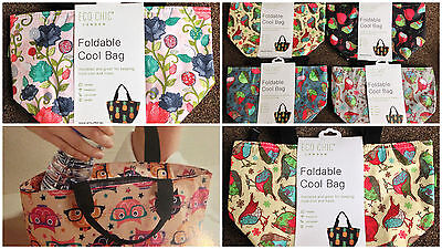 FOLDABLE COOL BAG Eco Chic Lunch Bag LOTS OF COLOURS & DESIGNS Super Quality