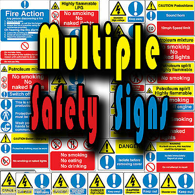 Multiple safety signs danger stay out battery charging  etc Vinyl wall stickers