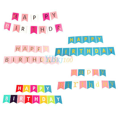 Kids Adult Happy Birthday Bunting Gold Letter Garland Hanging Banner Party Decor