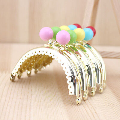 Golden Candy Bead Metal Frame Kiss Clasp For Handle Bag Purse 8.5CM/3.35inch
