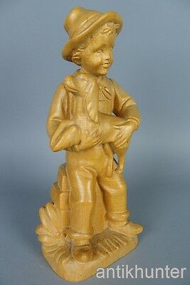 "vintage german wooden boy with dog  , 9 1/2"" inch high"