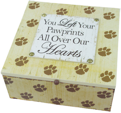 Memory Box Keepsake Ashes Box Pawprints All Over Our Hearts Cat Dog 20cm SG1933