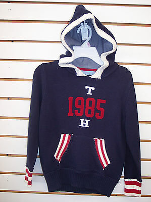 Boys & Girls Tommy Hilfiger Navy, Red, & Off-White Hooded Sweater Size 6 - 16/18
