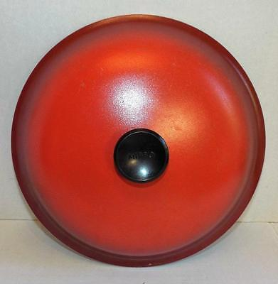 Vintage MIRRO Pan LID ONLY Cast Aluminum Poppy Red / Burnt Orange Large aprx 10""