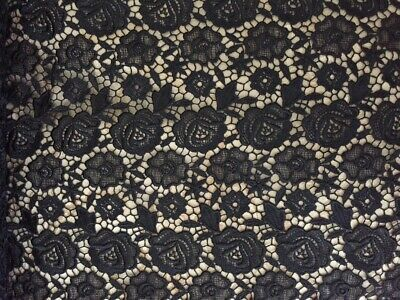 "Black Guipure Lace Bridal and Special Occasion 44"" Fabric  Sold by the Yard"