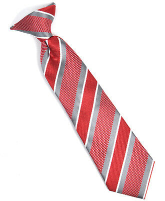 Boy's Youth Red Striped Clip On Tie (MPCB2000RD)