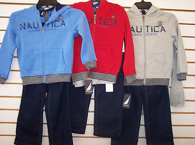 Toddler/Boys Nautica $59.50 3pc Gray, Blue, or Red Hoodie Set Size 2T-7X