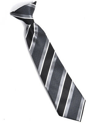 Boy's Youth Charcoal Striped Clip On Tie (MPBC2000CH)