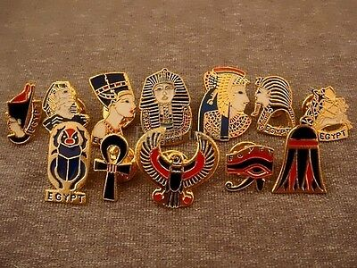 Lot of 12 Egyptian HandMade Brass Enamel Pins Ankh,Eye,Scarab, Horus,Tut, Sphinx