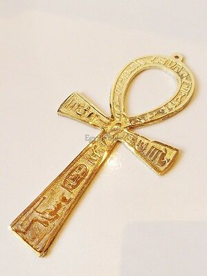 "LRG Egyptian Solid Brass Ankh Life key  6.6"" Engraved Hieroglyphics Wall Hanging"