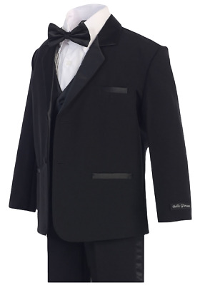 Boys Black Formal Tuxedo Suit (Sizes 2T - 14), Kids Formal Wear, Bow Tie - New