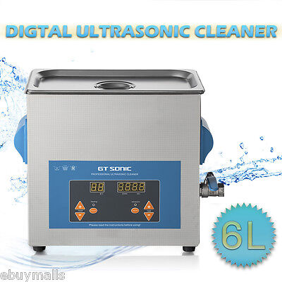 New Stainless Steel 6 L Liter Industry Heated Ultrasonic Cleaner Heater Timer US