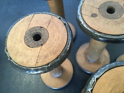 Vintage wooden industrial textile bobbins spools Spindle factory Mill