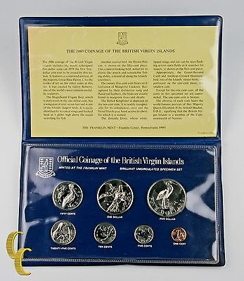 1980 British Virgin Islands Mint Set, All Original 7 coins w/ Case MS8