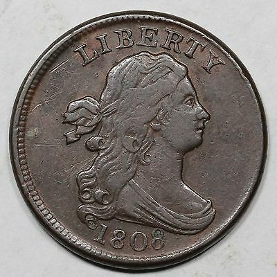 1808 C-3 Perfect Date Draped Bust Half Cent Coin 1/2c