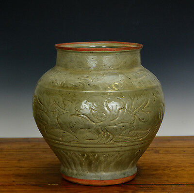 Large Old Chinese Ming Celadon Longquan Phoenix Floral Body Porcelain Vase
