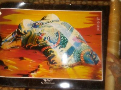"Poster Tattoo Fantasies Art ""SUNSET"" by Richard Chesler, 1992 Japanese Body Art"