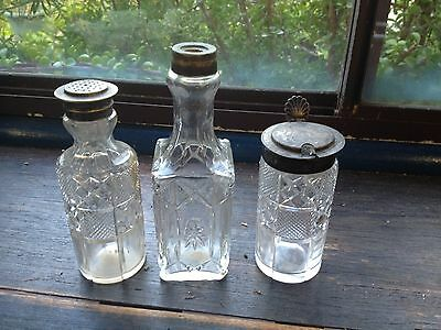 BRT Early Century Antique Tableware Cut Glass & Silver Sauce Condiments Bottles