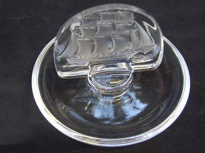 Lalique France Ring/Pin Tray with Frosted Ship & Crystal Base Art Glass Vintage