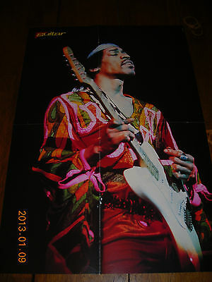 Jimi Hendrix Guitar Magazine Fold Out Poster Rare 14 1/2 by 21 1/2