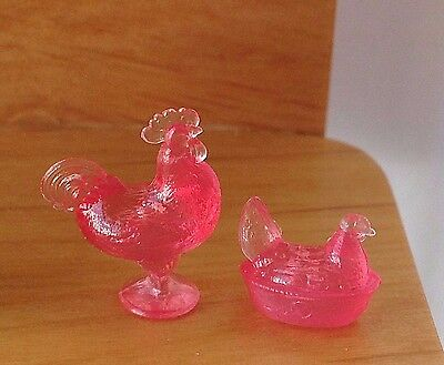 """Miniature Dollhouse Kitchen Accessories ~ 1:24 ½"""" Scale Pink Nesting Hen Rooster"""