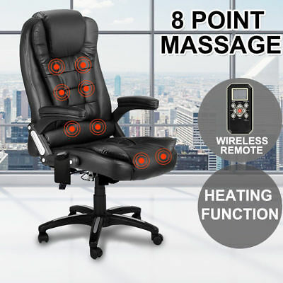 8 Point Massage Executive Office Computer Chair Heated Black Recliner New Brand