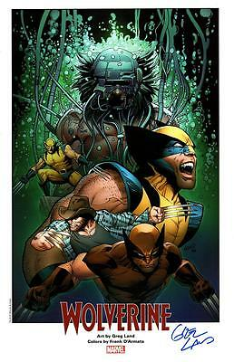 """WOLVERINE - WEAPON X Marvel Art Print by GREG LAND Signed 11""""x17"""""""