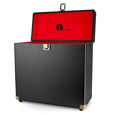 1byone Sturdy Vintage Vinyl Record Storage Case for 30 Albums, Black Color