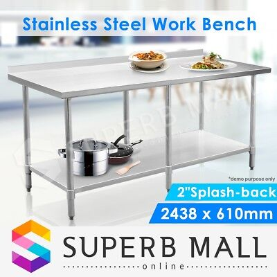 Stainless Steel Kitchen Food Work Bench & Catering Food Prep Table 244cm x 61cm