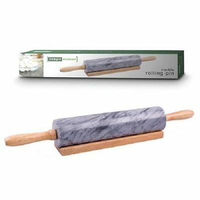 Charcoal Marble Rolling Pin with Wood Base/Cradle for Pastries/Dough/Patry Chef