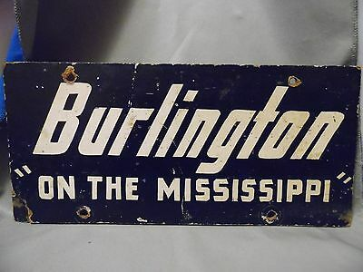 Rare Vintage Burlington On The Mississippi Black And White Painted Wood Sign