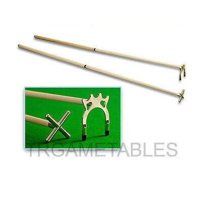 Brass Cross&Bridge Spider Rest Head with Two Cues for Pool Snooker Billiards!!!
