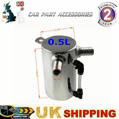 """Hot 0.5L Polished 19Mm 3/4"""" Barb Aluminium Oil Catch Can Breather Tank Reservoir"""