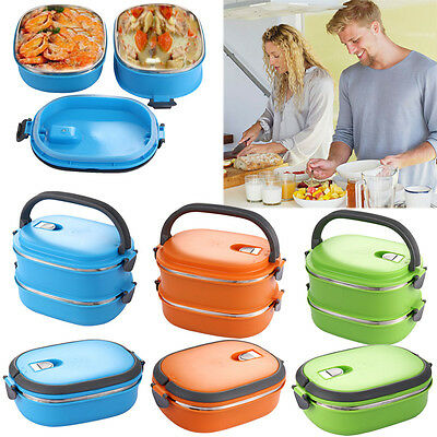 1/2 Layer Stainless Insulated Thermal Lunch Box Bento Tote Handle Food Container