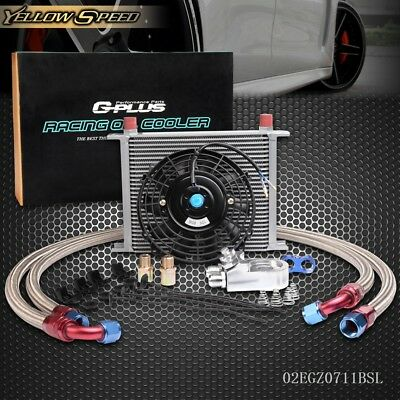 28 Row AN10 Universal Engine Oil Cooler Kit+Filter Adapter Hose+Cooling Fan