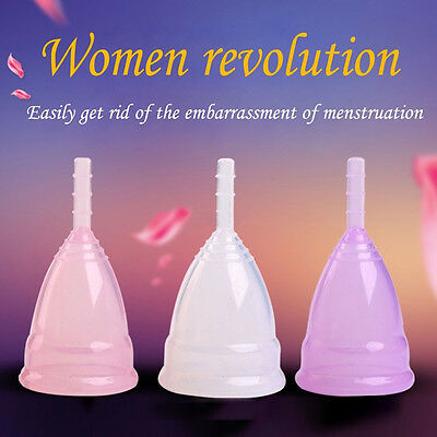 Reusable Women Sillicone Menstrual Period Soft Medical Diva Cups Small Large New