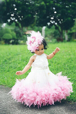 Tutu Flower Girl Tulle Lace Dress Princess Birthday Pageant Wedding Party Gown