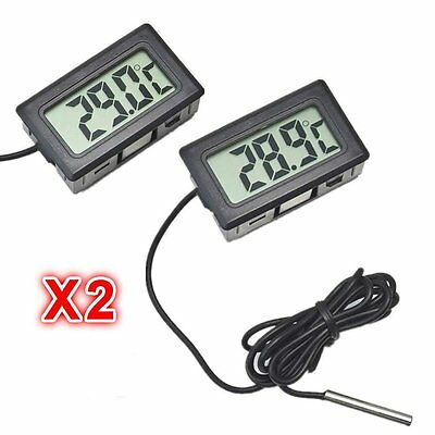 2 LCD Digital Temperature Thermometer- Fridge Freezer Aquarium Fish Tank Reptile