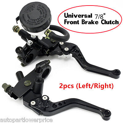 "2p 7/8"" Universal Motorcycle Front Master Cylinder Brake Clutch Levers Reservoir"