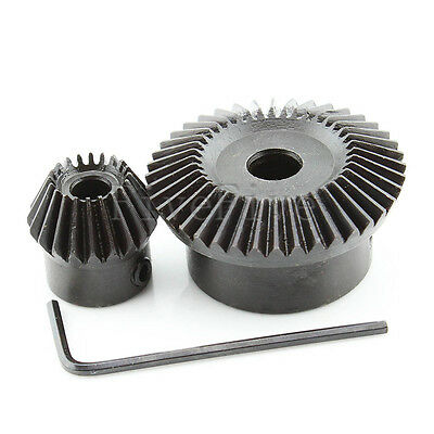 1M40T-20T Metal Umbrella Tooth Bevel Gear 90° Angle Set Kit Ratio 2:1