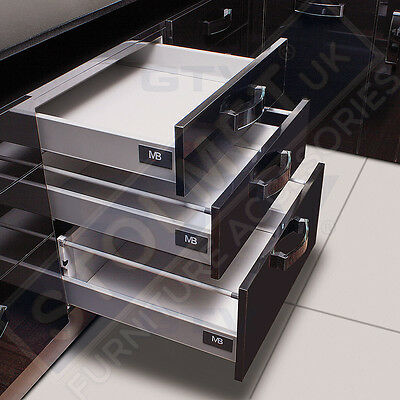 White Soft Close Kitchen Drawer Runners System Modern Box MB LIKE BLUM AllSizes