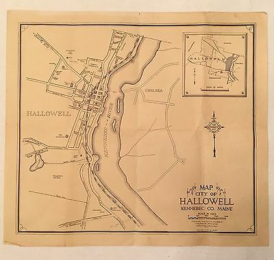 Vintage Map 1939 Hallowell Maine ME Kennebec Co Walter B Hamilton Old Paper