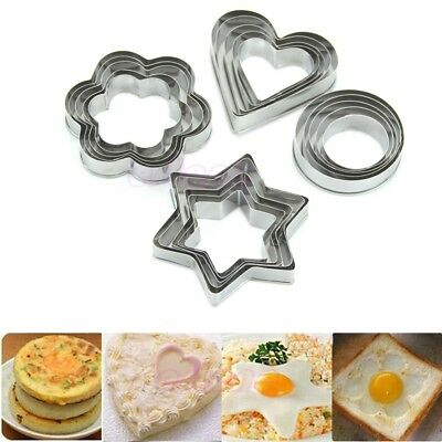 12 PC Stainless Steel shaped  Biscuit Cookie Cake Pastry Cutter