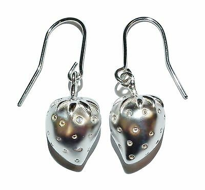 Sterling Silver & Gem Set Satin Finish Strawberry Drop Earrings - Was £65
